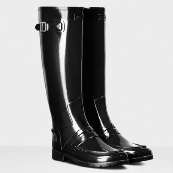 a9eda2c5321 Hunter Shoes - Refined Tall Gloss Penny Loafer Rain Boot NWOT